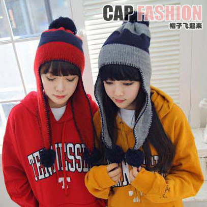 Yubssh p stripe knitted hat knitted hat oge ball ear protector cap female autumn and winter thermal