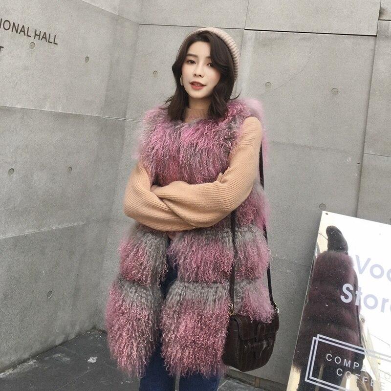 Hiver Veste Agneau gris Femmes Chic Beige Fourrure Sortie rose Gradation En Sans marron De Réel Manches Vêtements multi Mongolie fRRdIq