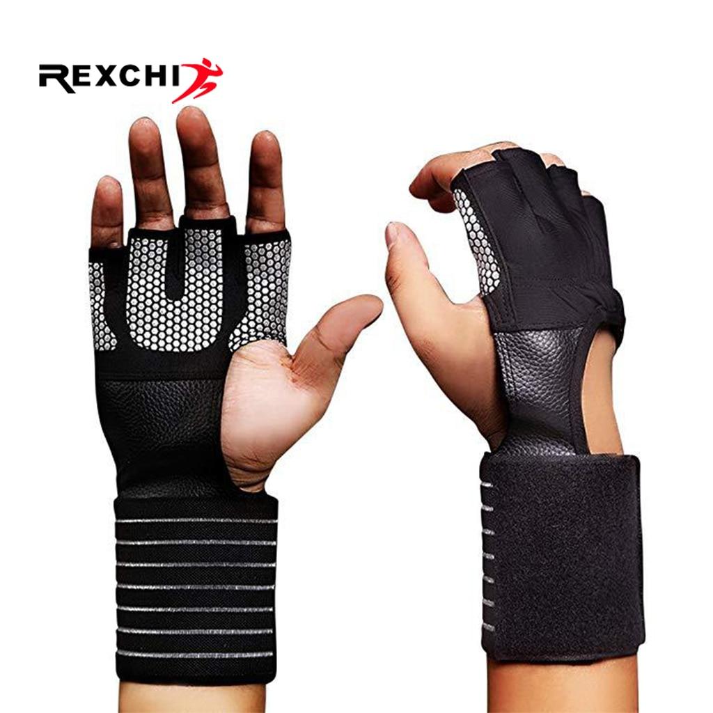 REXCHI Crossfit Gym Fitness Gloves Adjustable Four Half Finger Women Men Workout Weightlifting Bodybuilding Hand Wrist Protector