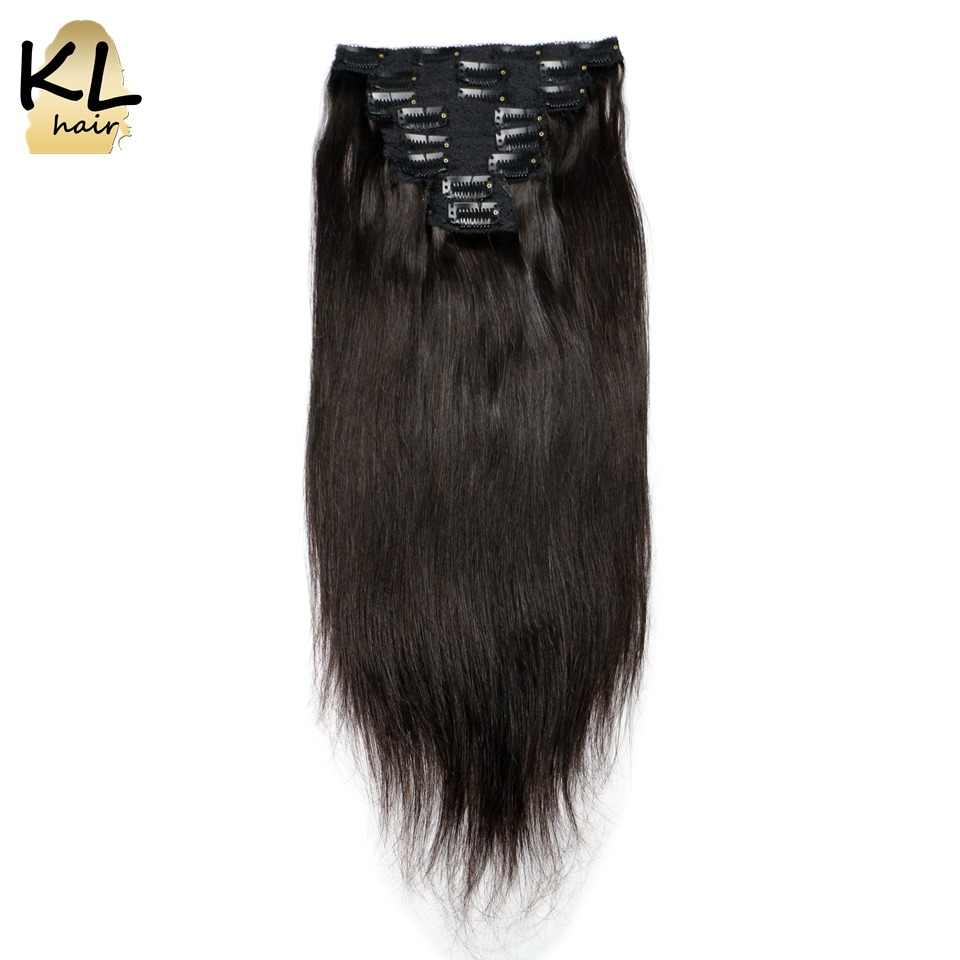 Straight Clip in Human Hair Extensions Natural Black Brazilian Remy Hair Clip-ins With Lace Weft 120G 8Pcs/Set Full End KL Hair