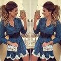 Синий С Длинным Рукавом V-образным Вырезом Кружевном Платье Элегантные Старинные Цветочные Печатных Декор Повседневная Мини Короткое Платье