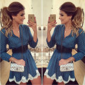Blue Long Sleeve V-neck Lace Dress Elegant Vintage Floral Printed Decor Casual Mini Short Dress