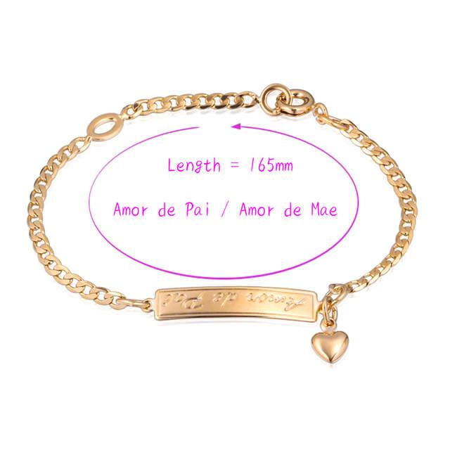f3f4d99cb692 Online Shop Baby Gold-color Letter Love Bracelets Bangle Bracelete Nina  Pulseira Women Girl Chain Bracelet Bebe Charms Kids Jewelry B01Pai