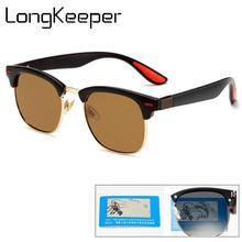 LongKeeper Vintage Polarized Sunglasses Women Men Classic Semi Rimless Sun Glasses Driving Eyewear Goggles UV400 Oculos