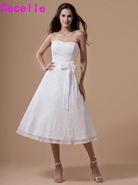 Vintage Short Tea Length Lace Wedding Dresses Informal Reception Dresses  Second Wedding Dresses Cheap Custom Made 2019 Simple 531ed51833a2