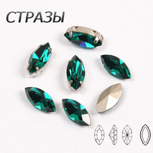 Blue Zircon K9 Crystal Sew On Rhinestones With Silver Gold Claw Flatback Sewing For Garment