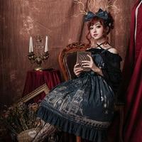 Milu City ~ Royal Vintage Dress Retro Sleeveless Printed Lolita Dress