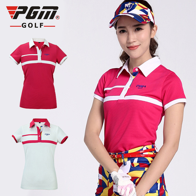 dfa5ee78 PGM Women Golf T Shirts Golf Sport Wear Summer Short Sleeve Breathable  Quick Top Quaitly Polo Shirt Fitness Golf T Shirt