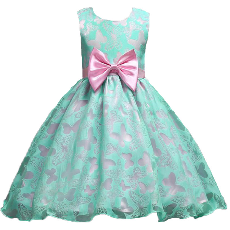 2-10Y Princess Girls Butterfly Wedding Flower Party Dress Children Kids Pageant Formal Bow Dress Prom Baby Girl Birthday Dresses 2017 new beading lace v neck flower girl dress baby prom girls dress holy first communion dress kids birthday princess dresses