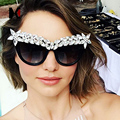 Feito À Mão Cristal Decoração de Grandes Dimensões Mulheres Cateye Óculos de Sol Da Moda de luxo Senhoras Gradiente/UV400 Óculos de Lente Clara