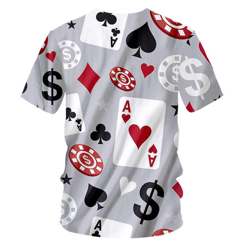 Ogкб новая Harajuku Мужская мода 3d печать покер игра футболка Человек Хип Хоп Футболка мужская, с коротким рукавом o-образным вырезом футболки нижнее белье унисекс 7xl