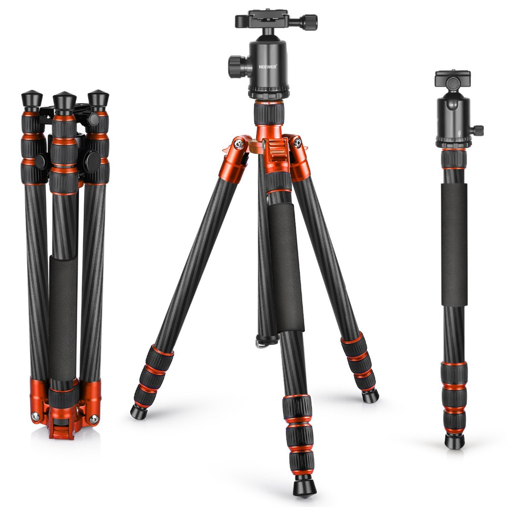 Neewer Carbon Fiber 65 inches/165cm Tripod Monopod with 360 Degree Ball Head 1/4 inch Quick Shoe Plate+Bubble Level for DSLR