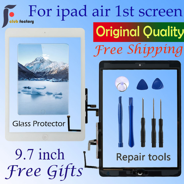 For Ipad Air 1 Touch Screen A1474 A1475 A147 Digitizer Sensor + Home Button + Flex Adhesive + Repair Tools Assembly Glass Panel