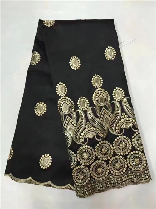 Latest popular designs Black sequin fabric 5 Yards African Lace Fabric high quality indian silk George lace fabric!