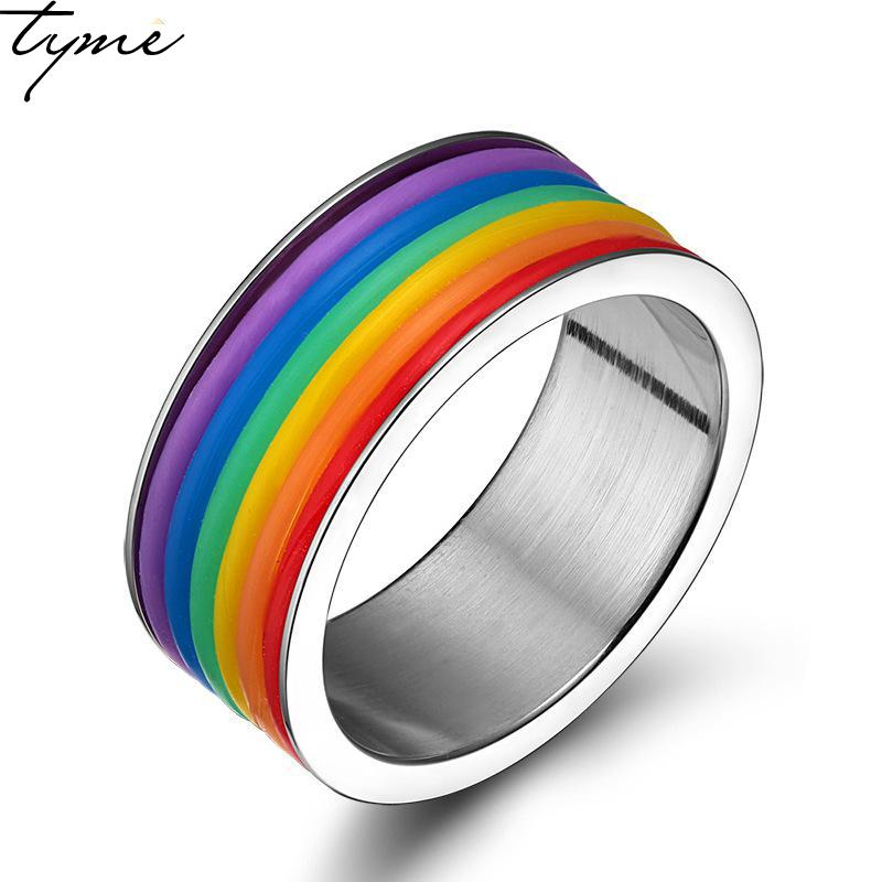 Stainless Steel fashion Europe Rainbow Ring lover Ring for woman man Jewelry Wholesale Trade Rainbow colorful Ring gold color