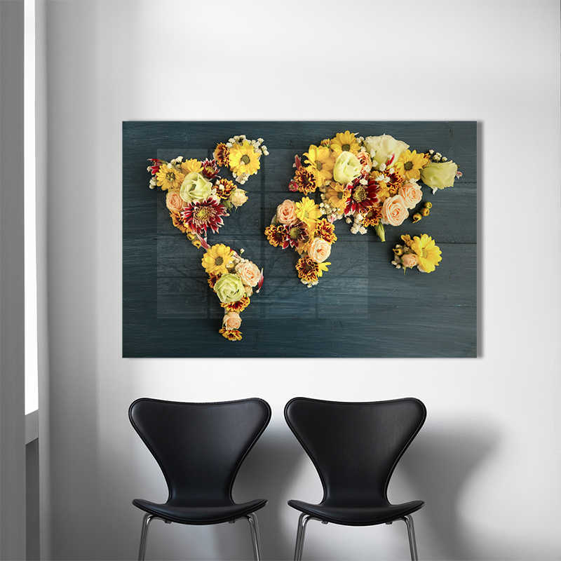 Abstract World Map Canvas Art Print Wall Pictures Vintage Flower Map Of World Poster Canvas Painting Home Decoration