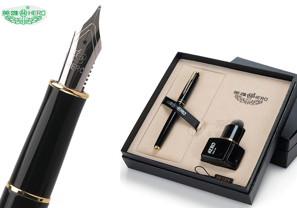 Fountain pen  + Ink bottle 25ml with gift box HERO 5020  pens set Office and school The best gift sets  Free  Shipping 9901 fine financia pen student pen art fountain pen 0 38 0 5 0 8mm optional gift box set
