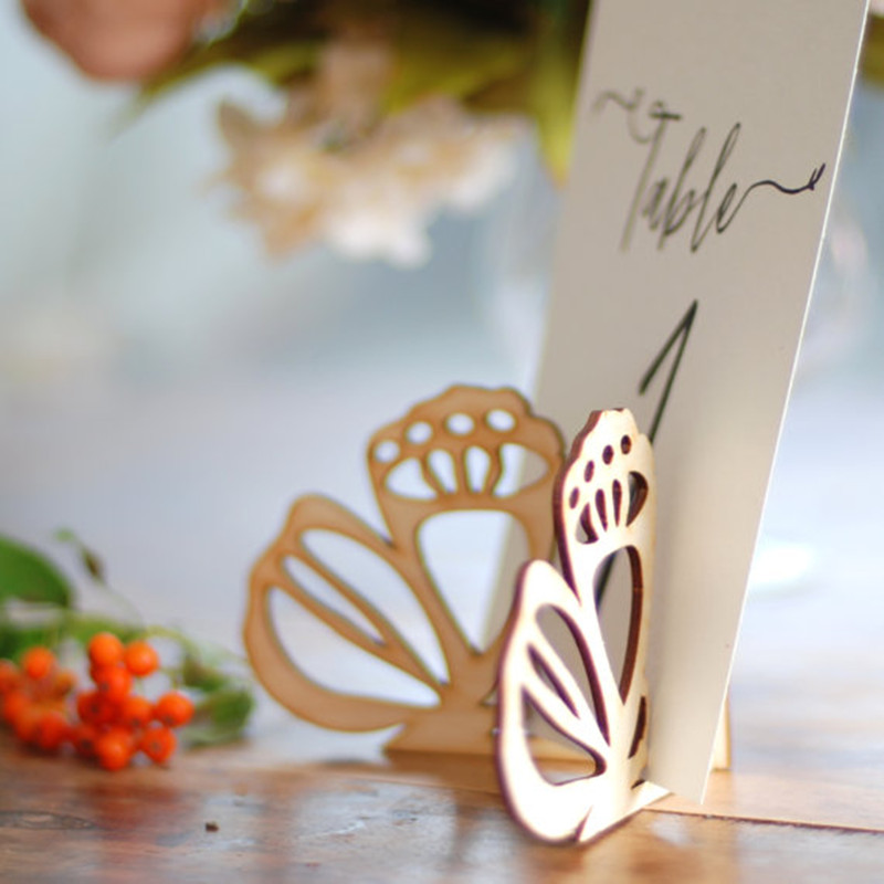 10x Wood Wooden Butterfly Table Number Holder Stand Wedding Menu Sign Holder DIY Party Decorations