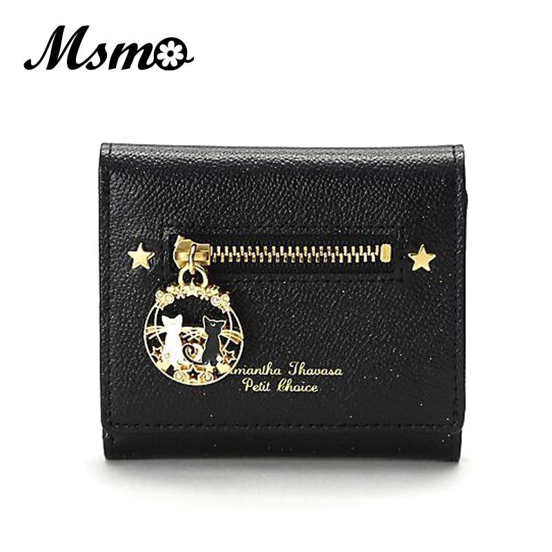 2017 New Fashion Black and White Cat Wallet Sailor Moon Cat Wallet Short Purse Clutch Handbag white black new