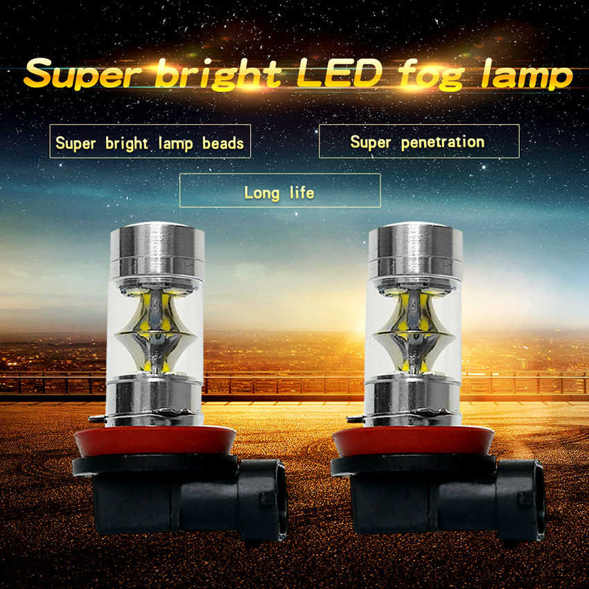 TXVSO8 H11 LED Bulbs H8 9006 HB4 9005 HB3 H7 Fog Lights Driving Running  SMD Tail Lamp Car Light 1100LM 12V 24V Auto 6000K White
