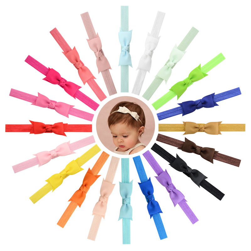 Newborn Baby Turban Kids Grosgrain Ribbon Bow Tie Headband DIY Bowknot Elastic Head Bands For Girls Headdress Hair Accessories