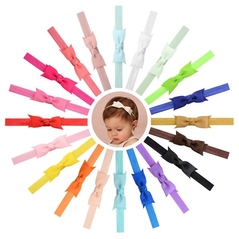 Newborn Baby Turban Kids Grosgrain Ribbon Bow Tie Headband DIY Bowknot Elastic Head Bands For Girls Headdress Hair Accessories