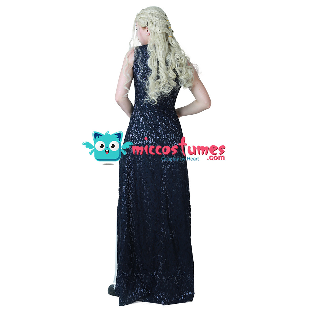 Daenerys Targaryen Dress Daenerys Costume Dark Navy Blue and White Dress Cosplay Gown Costume