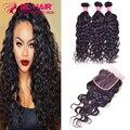 3pcs+closure Brazilian Virgin Hair with Closure Natural Wave Brazilian Hair Weave Bundles Human Hair Bundles with Lace Closures