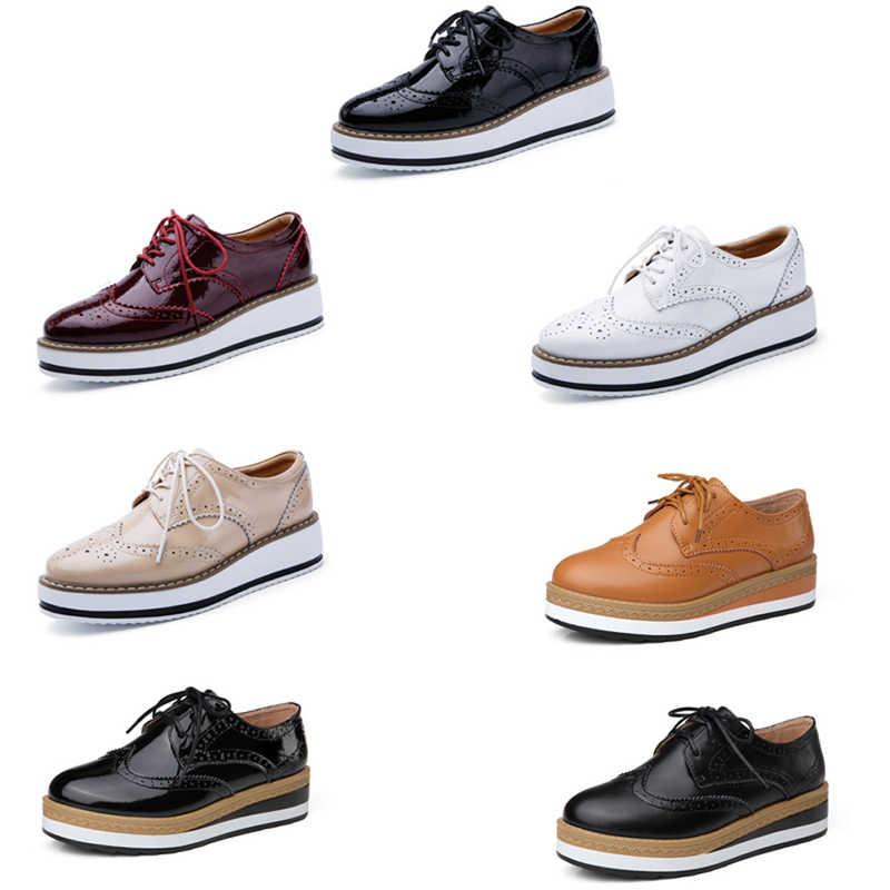 EOFK ฤดูใบไม้ร่วงผู้หญิงแพลตฟอร์มรองเท้าผู้หญิง Brogue Derby สิทธิบัตรรองเท้าหนังลูกไม้ขึ้นรองเท้าแบนหญิงรองเท้า Oxford รองเท้าสำหรับสตรี