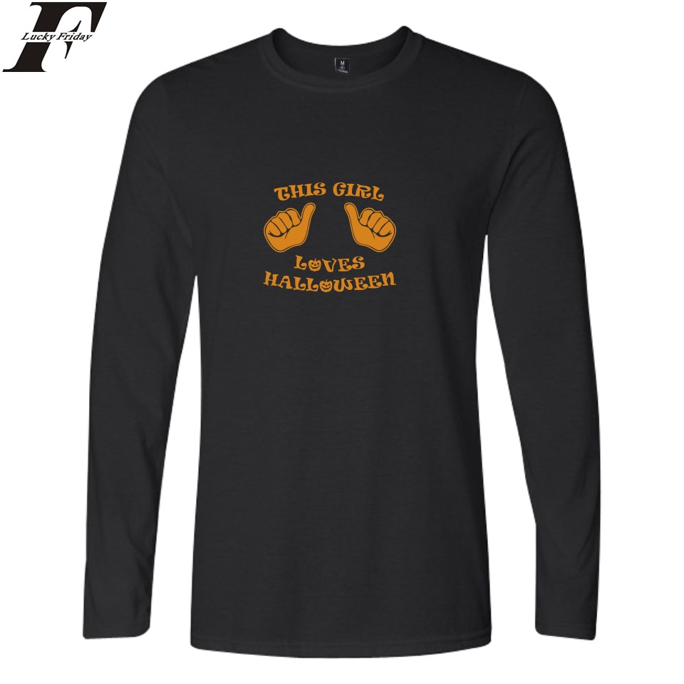 LUCKYFRIDAYF Halloween Tshirt Men Long Sleeve Black Fashion T-shirts Men T Shirts Cotton Funny Printed O-Neck Casual Tee Top