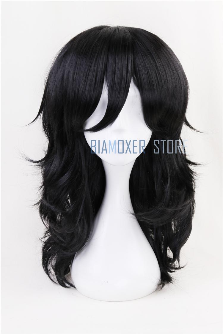 Biamoxer 45cm My Hero Academia Baku no Hero Shouta Aizawa Cosplay Wigs Black Wavy Cos Hair Wig Heat Resistant Cosplay Costumes