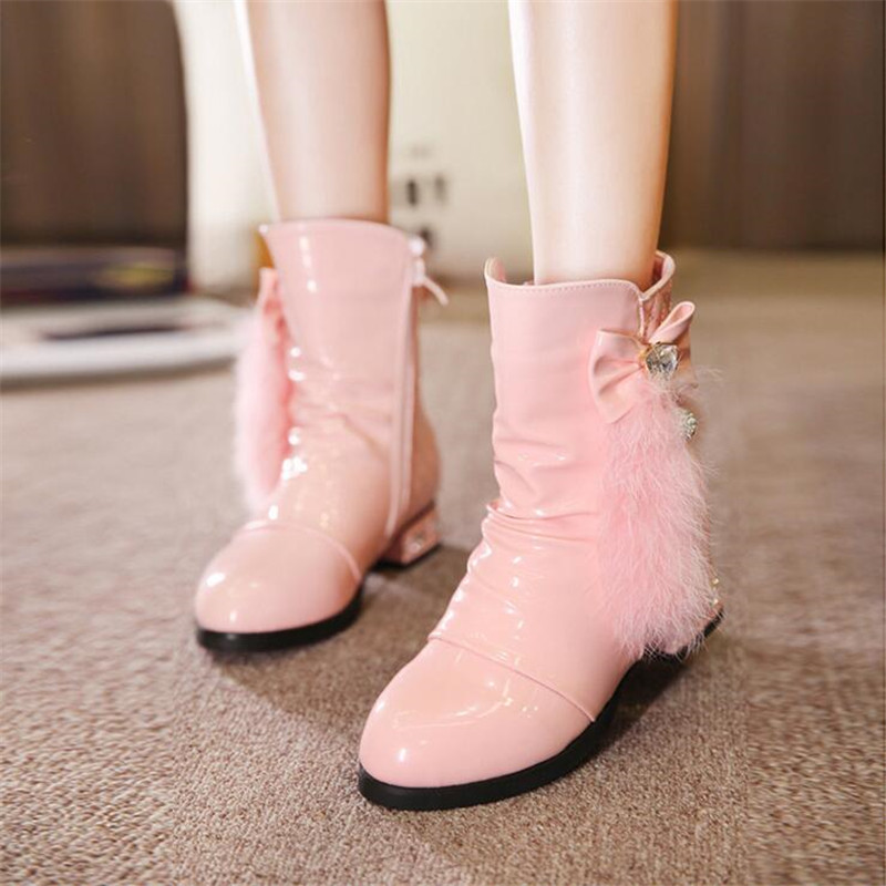 Winter Childrens Shoes Princess Boots Girls Plush Boots Kids Warm Fashion Genuine Leather Boots  3 Colors 26-37Winter Childrens Shoes Princess Boots Girls Plush Boots Kids Warm Fashion Genuine Leather Boots  3 Colors 26-37