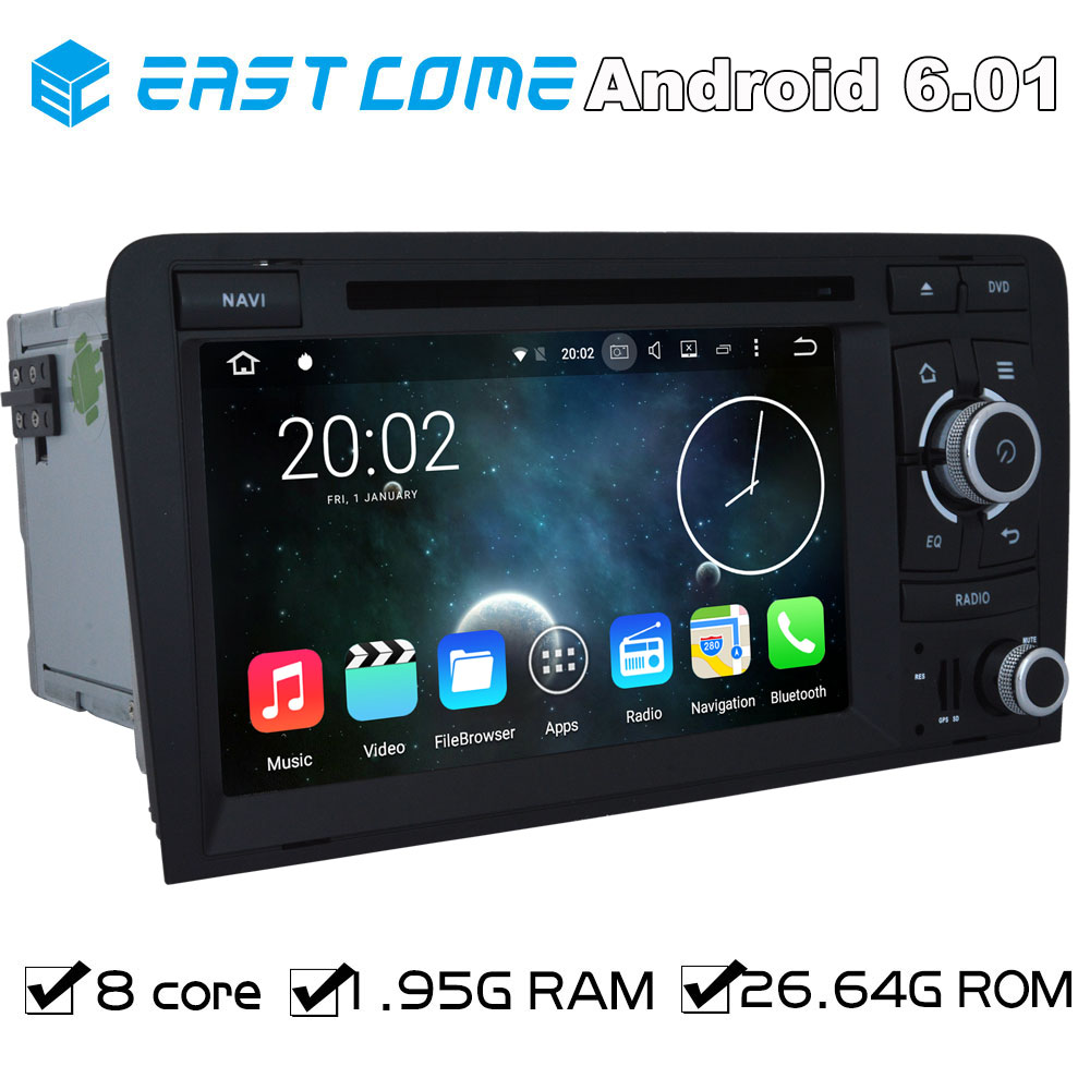 Pure Android 6.01 Car DVD for Audi R3 RS3 AUDI A3 2003 2004 2005 206 2007 2008 2009 2010 2011 With Octa Core Radio Bluetooth