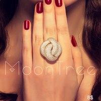 MoonTree Monaco Designer Luxury Twist Lines Geometry Cubic Zironium Engagement Fashion Ring For Women