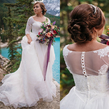 3/4 Sleeves V-neck Cap Sleeve Beading A-line Plus Size Wedding Dress No Train Illusion Button Back Bridal Dress vestido de novia