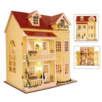3D Wooden Miniatures Dollhouse Furniture Large Wood Doll House with Furniture Model Toys for Children Chrismas Gift DH14