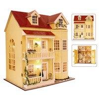 3D деревянные миниатюры Dollhouse Мебель большой дерева кукольный дом с Мебель модель Игрушечные лошадки для детей рождественских подарков dh14
