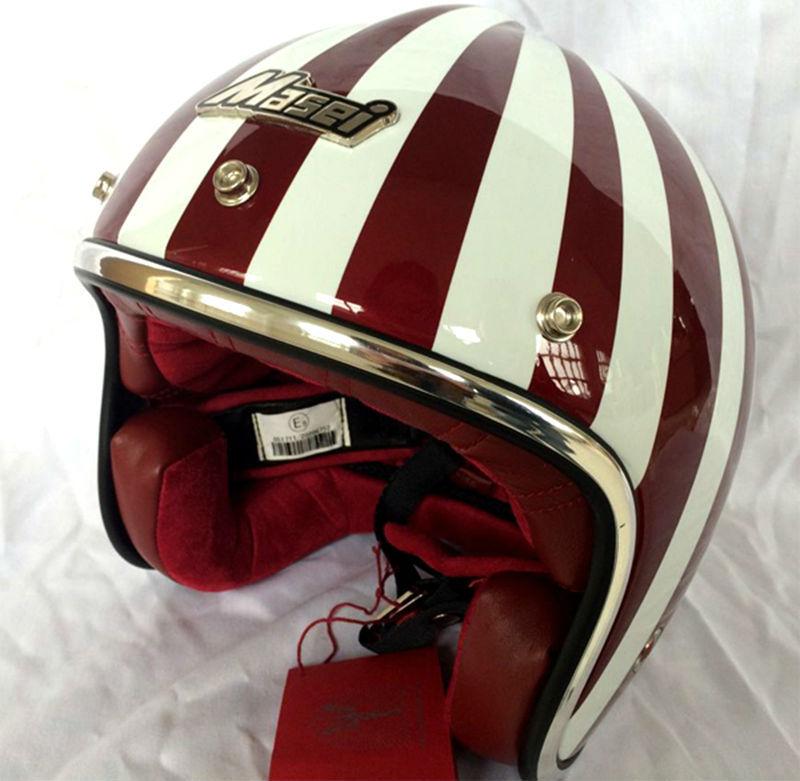 Motocross caschi MASEI rubino casco vintage mezza casco aperto del fronte del casco ABS casco motocross 501 Rosso
