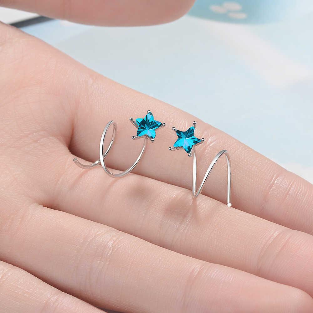 MEEKCAT, 100% 925 пробы, серебряные женские маленькие серьги в форме звезды, с ушками, с пряжкой, плотно Упакованные мини двойные кольца, серьги DS458