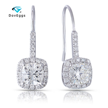 DovEggs Platinum Plated Silver 2.62CTW 6*6mm H Color Cushion Cut Moissanite Halo Drop Dnagling Earrings for Women