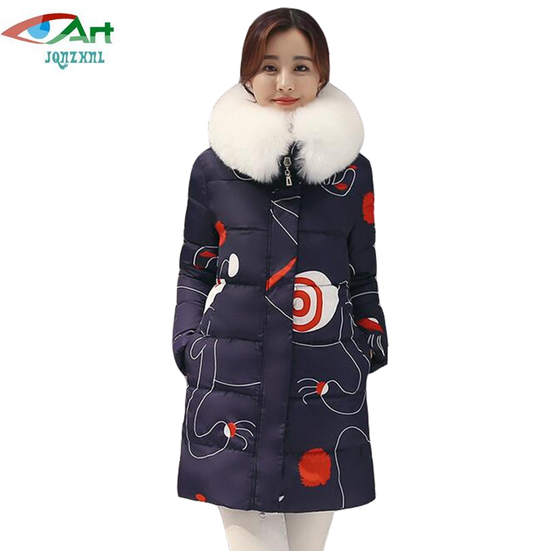 Women Warm Thicken Down Cotton Coats Parkas 2017 New Winter Big Fur Hooded Cotton Coats Printing Parkas Outerwear E517 JQNZHNL women parkas 2016 fashion ladies big fur hooded slim thicken outerwear winter coats women cotton padded warm overcoat a4507