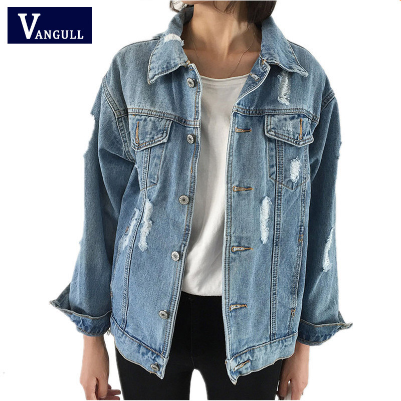 Women Basic Coats Spring Autumn Women Denim Jacket 2017 Vintage Long Sleeve Loose Female Jeans ...