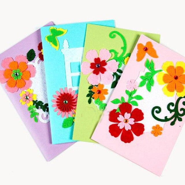 Beautiful DIY Wish Card Felt Package Flower Butterfly Sticker Birthday