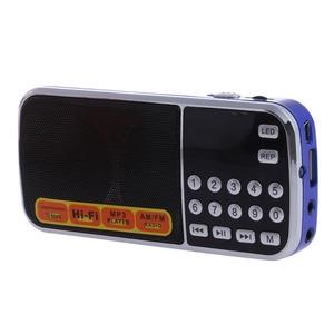 Image 2 - נטענת נייד מיני דיגיטלי סטריאו FM רדיו רמקול מוסיקה נגן עם TF כרטיס USB AUX קלט עם תצוגה ופנס