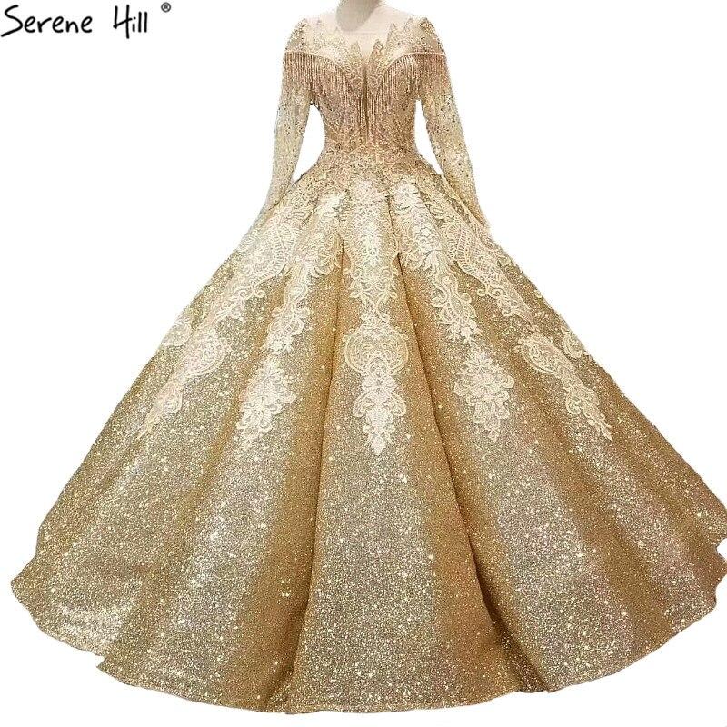 Nouveau Or Haut de gamme De Luxe Glitter Robes De Mariée Manches Longues Sexy Vintage De Mariée Robes De Mariée 2018 Real Photo