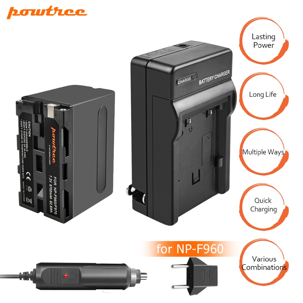 цена на 1X 8700mAh NP-F960 NP-F970 Battery Pack + Car AC Charger Kits & Power Plug Adapter for Sony NP-F770 NP-F750 F960 F970 F550 L10