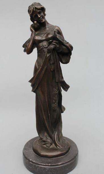 006999 14Western Art sculpture Bronze Marble Belle Girl Play parrot sculpture Statue
