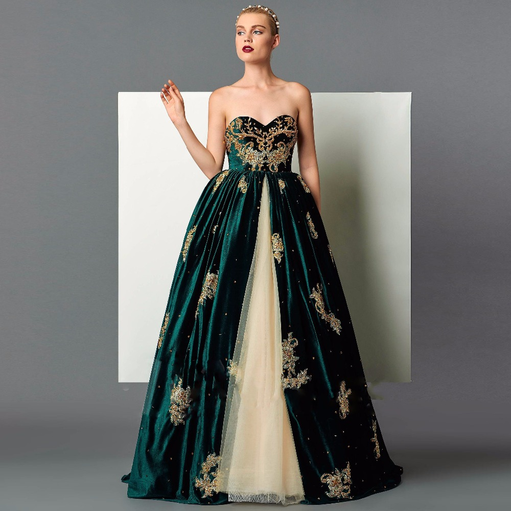 Retro Emerald Green Ball Gown Long Evening Dresses 2017 Appliques ...