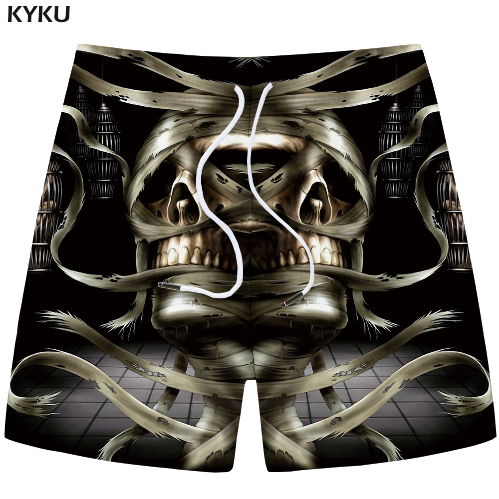 KYKU Skull Shorts Men Black Band Casual Shorts Cargo Cool 3d Printed Shorts Beach Mens Short Pants Summer 2018 New High Quality