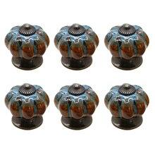 6 шт керамические глазурованные дверные ручки в виде тыквы, винтажная дверная ручка для шкафа, кухонная ручка для ящика QP2